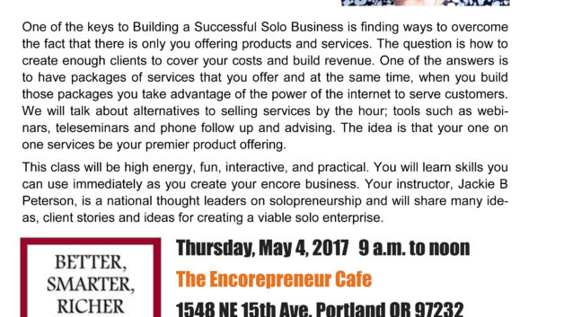 Jackie B. Peterson's Keys to a Successful Solo Business, May 4, 2017